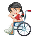 injured girl on wheel chair vector image vector image