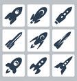 isolated rockets icons set vector image