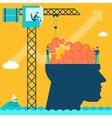 Man with brain puzzle Creative concept background vector image