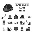 mine set icons in black style big collection of vector image