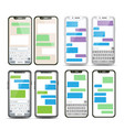mobile screen messaging set chat bot vector image vector image