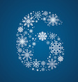 Number 6 font frosty snowflakes vector image