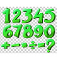 Numbers in green color vector image