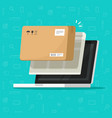 parcel delivery tracking on laptop computer vector image vector image