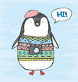 penguin in a sweater vector image