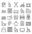 pension icon set outline style vector image