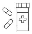 pills thin line icon pharmacy and medicine vector image vector image