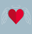 red paper love heart with hand drawn wings vector image