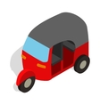 Red tuk tuk icon in isometric 3d style vector image vector image