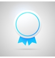 Round award with blue ribbons vector image