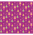 Seamless retro colourful owl bird pattern for kids vector image