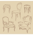 Set of sketched armchairs and chairs vector image