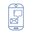 silhouette smartphone technology with e-mail chat vector image