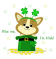stpatrick s day a cute corgi dog with a rim with vector image