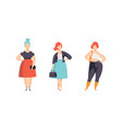 stylish plump young women set plus size girls in vector image vector image