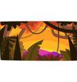 sunset in tropical jungle greenwood background vector image vector image