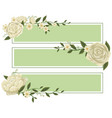 three banners with with roses on green background vector image vector image