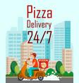 twenty four hours pizza delivery cartoon flyer vector image vector image