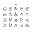 unicorn cake thin line icons vector image vector image