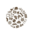 vintage objects icons in circle vector image vector image