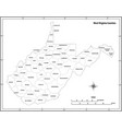 west virginia state outline map in black and white vector image vector image