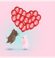 wild boar with red balloons and pig vector image