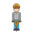 worker helmet jackhammer equipment construction vector image vector image
