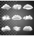 Transparent clouds icons set vector image