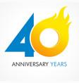 40 anniversary flame logo vector image vector image