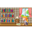 A girl inside the house with many books vector image vector image
