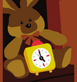 alarm clock big soft toy hare and clock vector image