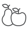 apple and pear line icon food and vitamin vector image vector image