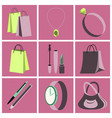 assembly flat icons accessories vector image vector image