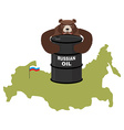Barrel of oil on background maps of Russia Flag of vector image vector image