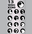 birds and creatures with wing icons collection vector image
