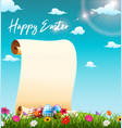 blank paper scroll in the grass field vector image