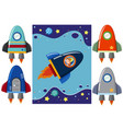 boy in the rocket and different design of rockets vector image vector image