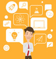 businessman with speech bubble infographic vector image