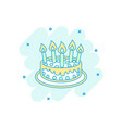 cartoon colored cake with candle icon in comic vector image