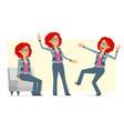 cartoon redhead hippie woman character set vector image vector image
