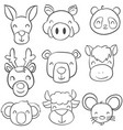 collection stock of animal doodle style vector image vector image