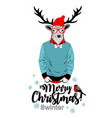 creative christmas card with deer in glasses vector image vector image
