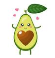 Cute cartoon avocado character in love isolated
