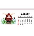 cute children calendar 2021 year bull vector image vector image
