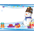 Cute snowman in a blue scarf vector image vector image