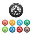 Earth icons set color