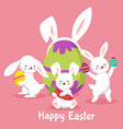 easter background with cute cartoon bunnies vector image