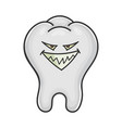 evil smiling grin tooth cartoon vector image vector image