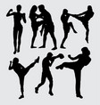 fighting duel silhouette vector image vector image