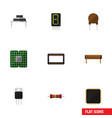flat icon appliance set of cpu display triode vector image vector image